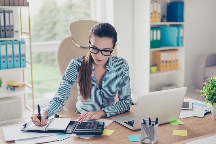 young business woman desk work