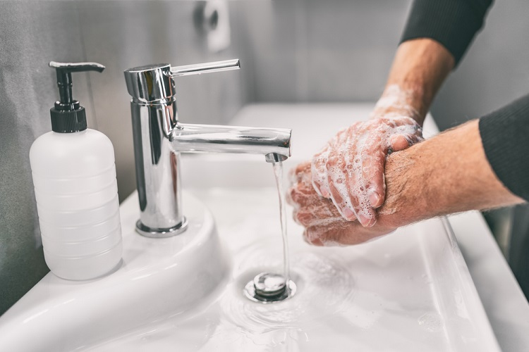 wash hands water soap